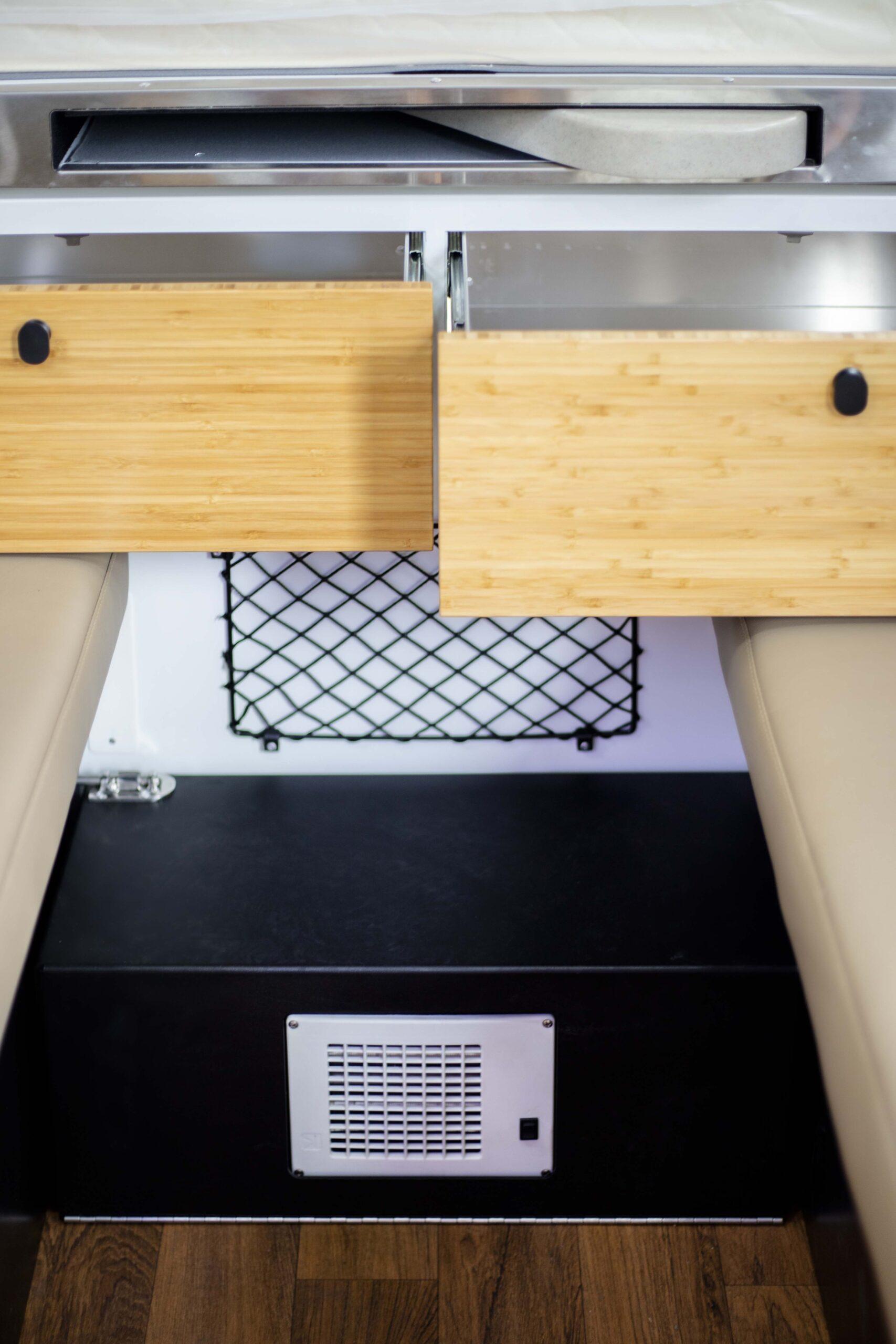 Karavan Storage underbed drawers, magazine rack and Bed Step Heater
