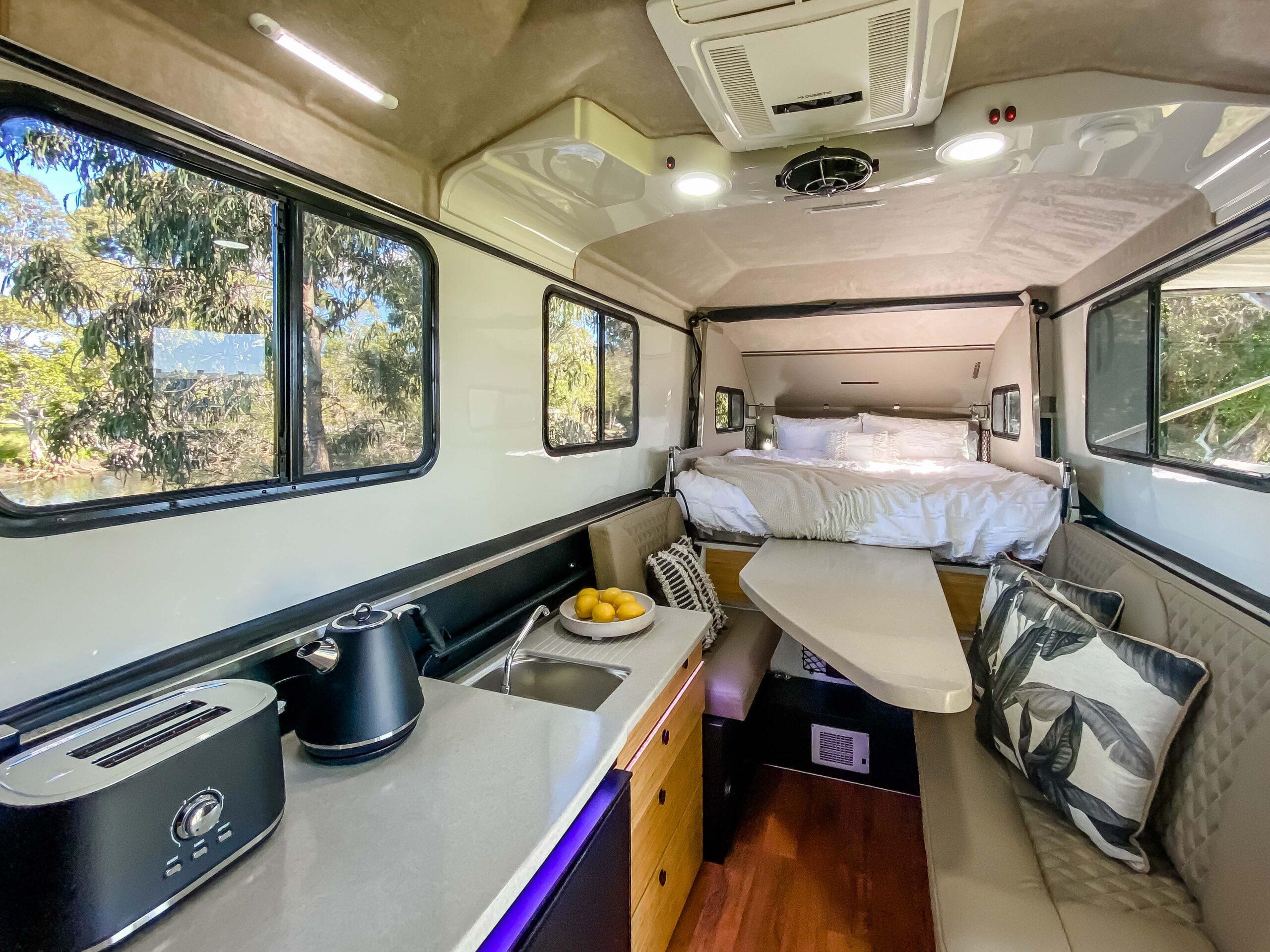 Kimberley Karavan interior lights on