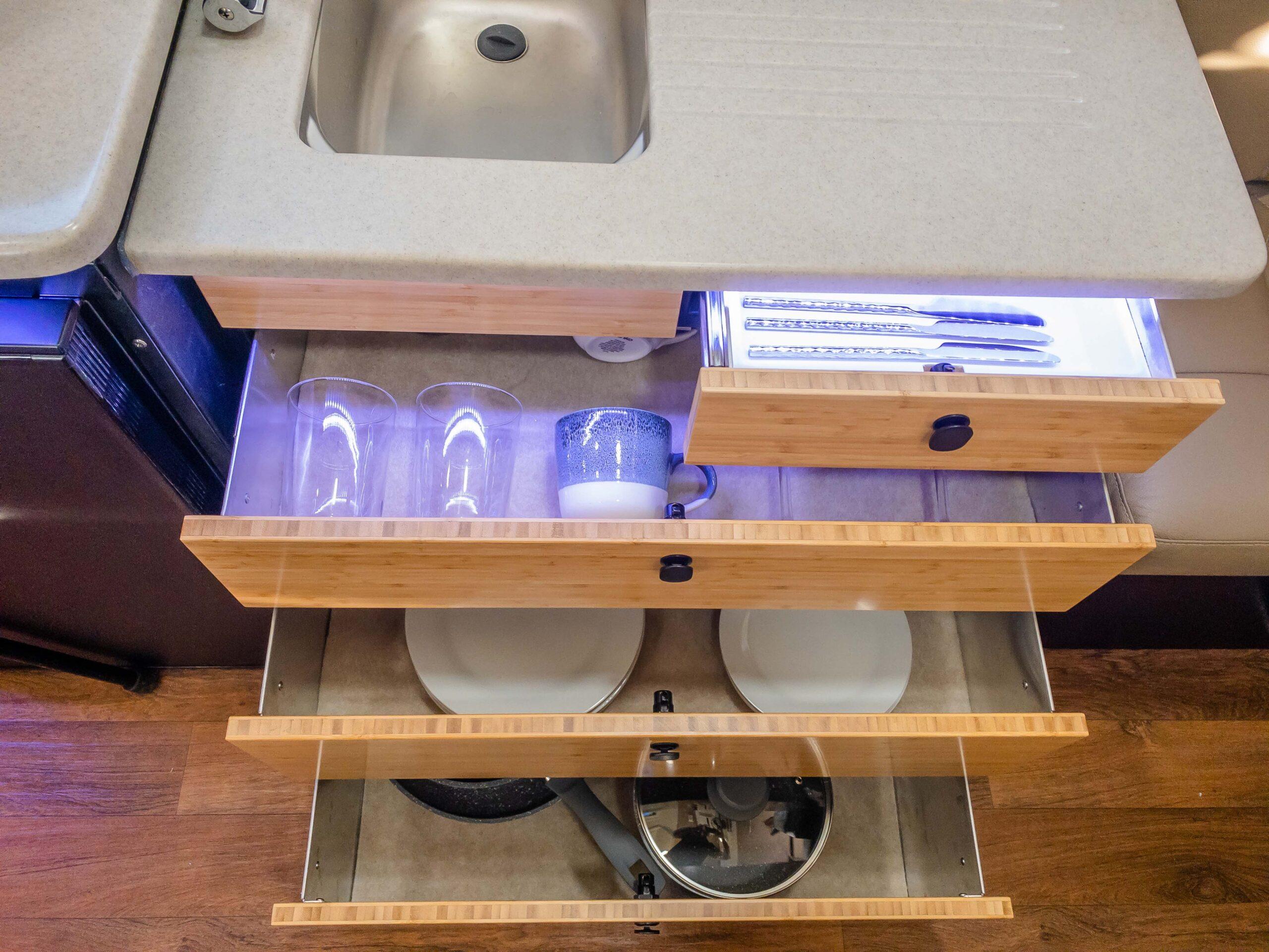 Kimberley Karavan under sink storage drawers